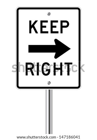 Keep Right Sign isolated on a white background - stock vector