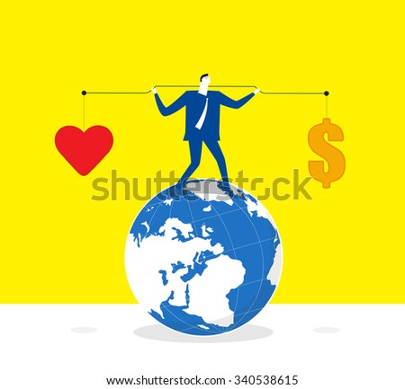 Keeping balance-A businessman lifts up lever,one side is heart and the other is money. he keeps balance and stands on a earth.  - stock vector