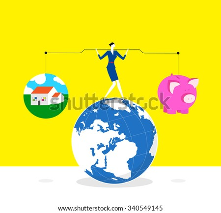 Keeping balance between life and quality-A business woman lifts up lever,one side is a piggy bank and the other is a house. she keeps balance and stands on a earth.  - stock vector