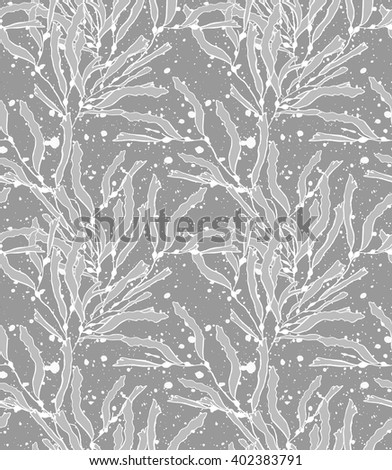 Kelp seaweed gray with texture.Hand drawn with ink seamless background.Modern hipster style design.