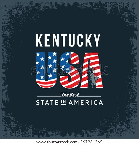 Kentucky best state in America, black, vintage vector illustration