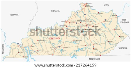 kentucky road map - stock vector