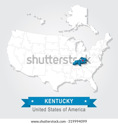 Kentucky state. USA administrative map.