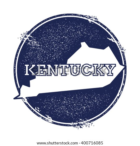 Kentucky vector map. Grunge rubber stamp with the name and map of Kentucky, vector illustration. Can be used as insignia, logotype, label, sticker or badge of USA state. - stock vector