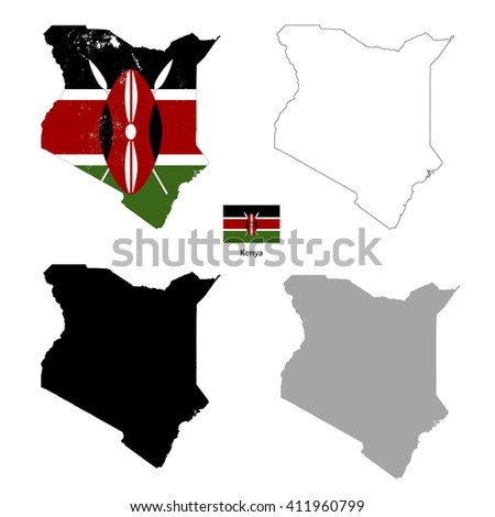 Kenya country black silhouette and with flag on background, isolated on white - stock vector