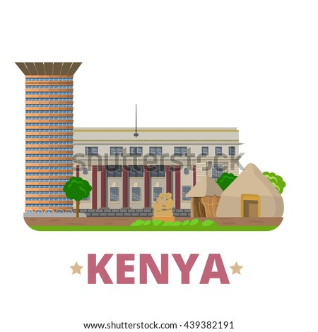 Kenya country flat cartoon style historic sight vector illustration. World vacation travel Africa collection. Kenyatta International Convention Centre National Archives Bomas Nairobi National Museum. - stock vector