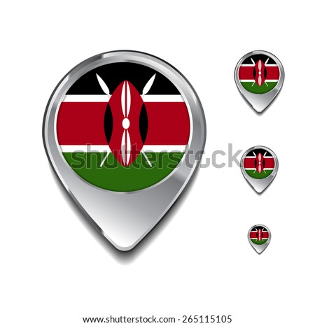 Kenya flag map pointer. 3d Map Pointer with flag glossy button style on gray background - stock vector