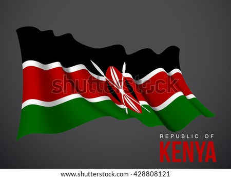 Kenya flag vector waving in the wind illustration isolated on a dark background. Modern banner to the day of independence country. Holiday card with standard Spirit of the union National Day