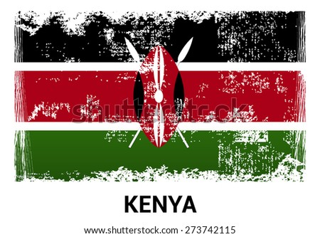 Kenya grunge flag isolated vector in official colors and Proportion Correctly. country's name label in bottom - stock vector