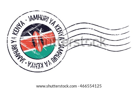 Kenya grunge postal stamp and flag on white background