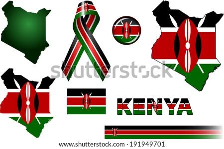 Kenya Icons. Set of vector graphic icons and symbols representing Kenya.  - stock vector