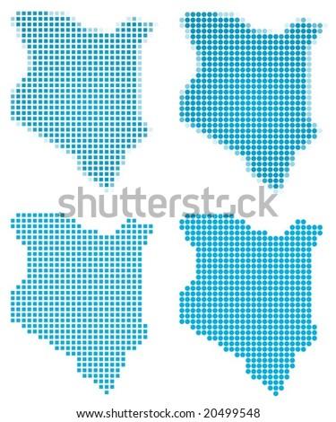 Kenya map mosaic set. Isolated on white background. - stock vector