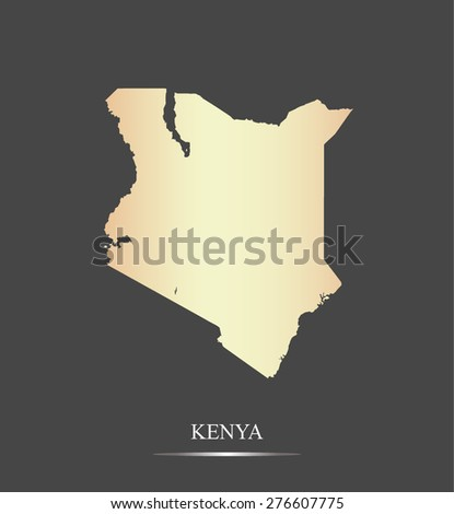 Kenya map outlines in an abstract black and white design, vector map of Kenya in a grey background - stock vector