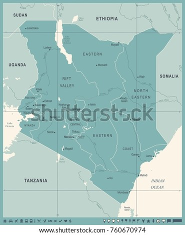 Kenya Map Vintage High Detailed Vector Stock Vector - Kenya map