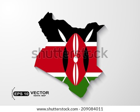 Kenya map with shadow effect - stock vector