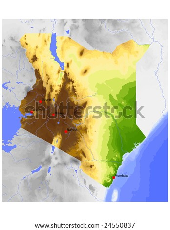 Kenya. Physical vector map, colored according to elevation, with rivers and selected cities. Surrounding territory greyed out. 66 named layers, fully editable. Data source: NASA - stock vector
