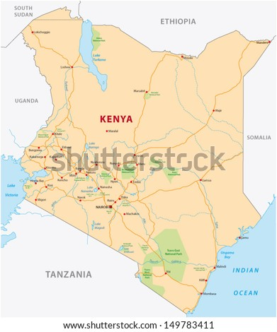 Kenya Road Map Stock Vector HD Royalty Free 149783411 Shutterstock