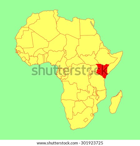Kenya vector map isolated on Africa map. Editable vector map of Africa. - stock vector