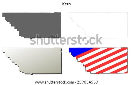 Kern County (California) outline map set - stock vector