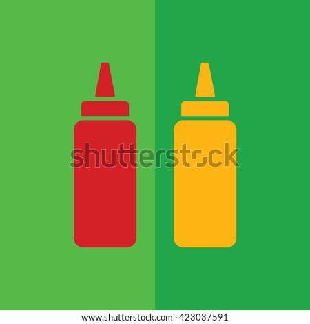 Ketchup and mustard squeeze bottle vector icon illustration. Green background