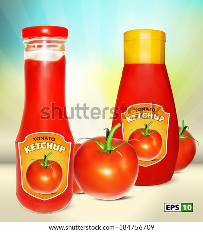 Ketchup with fresh tomatoes. Vector illustration of ketchup bottles with label. Plastic ketchup bottle. Glass Tomato Ketchup Bottle. Ketchup Bottles with Label. Realistic Tomato Ketchup Bottle. - stock vector
