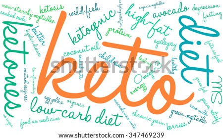 Keto word cloud on a white background.  - stock vector