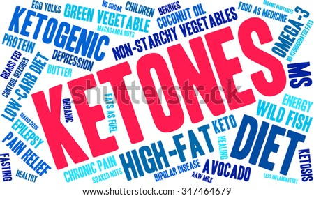Ketones word cloud on a white background.  - stock vector
