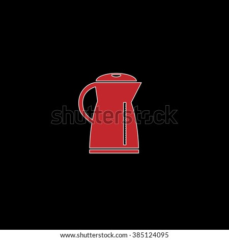 Kettle flat symbol pictogram over black background. red vector icon with white stroke
