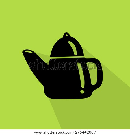 kettle icon on green background - stock vector