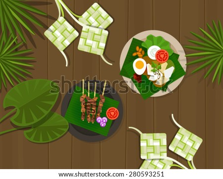 ketupat lebaran idul fitri ied table food indonesia - stock vector