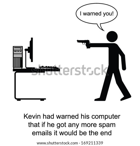 Kevin finally had enough of spam emails cartoon isolated on white background  - stock vector