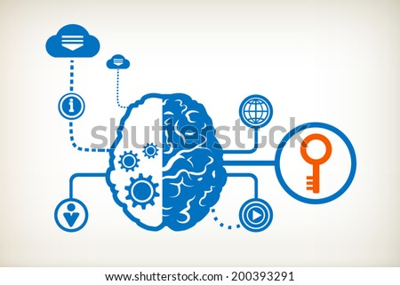 Key and abstract human brain, the concept of the information movement - stock vector