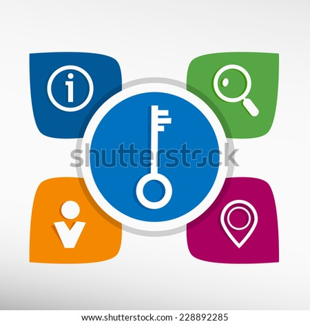 Key and icons set vector illustration. Modern Flat style  - stock vector