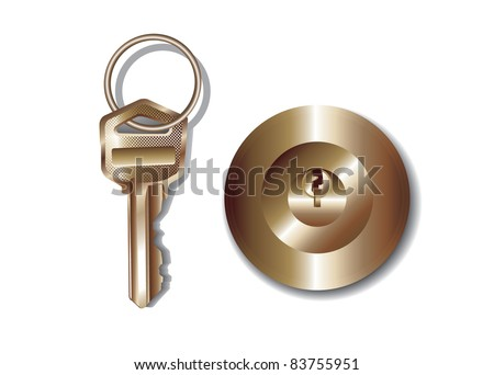 Key and keyhole/key and keyhole on a white background - stock vector