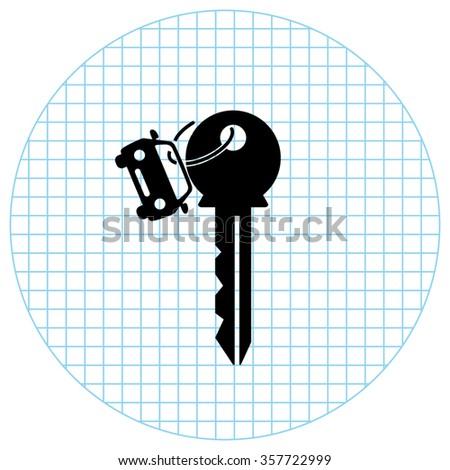 Key car  - black vector icon - stock vector