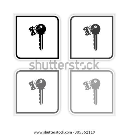 Key car -  grayscale vector icon - stock vector