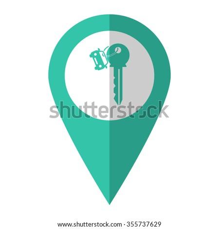 Key car - vector icon;  green map pointer - stock vector