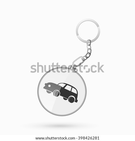 Key chain with car icon - stock vector
