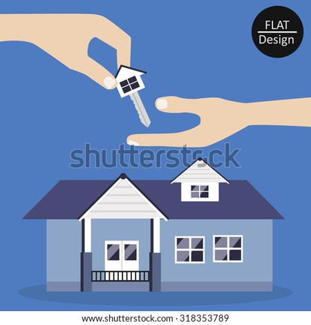 Key house and trading house in flat design . Vector illustration . - stock vector