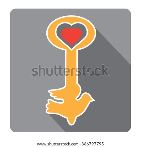 key icon.love icon.gold key.Isolated.Vector illustration. - stock vector