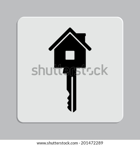Key icon on a grey flat button