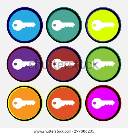 key icon sign. Nine multi colored round buttons. Vector illustration - stock vector