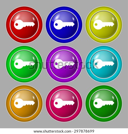 key icon sign. symbol on nine round colourful buttons. Vector illustration - stock vector