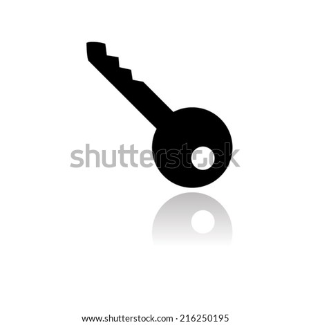 Key icon with shadow