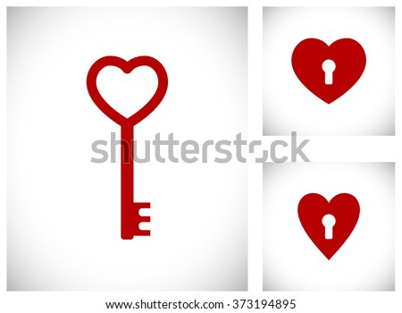 key in heart shape icon - stock vector