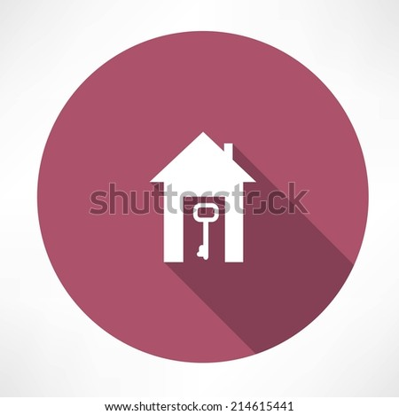key in the house icon - stock vector