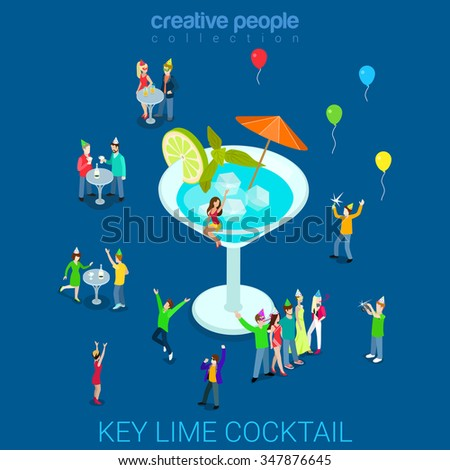 Key lime vermouth cocktail flat 3d isometry isometric alcohol beverage concept web vector illustration. Micro people dance club party and big glass. Creative people collection. - stock vector