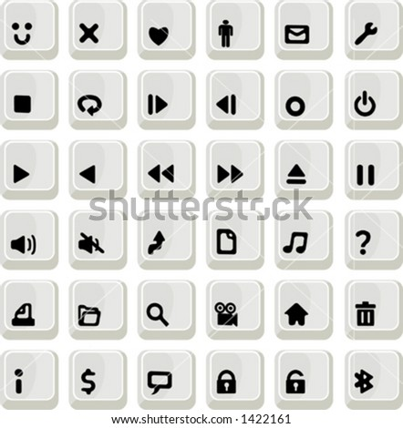 key look icon set - stock vector