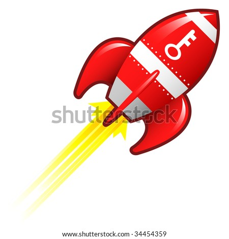 Key or password icon on red retro rocket ship illustration