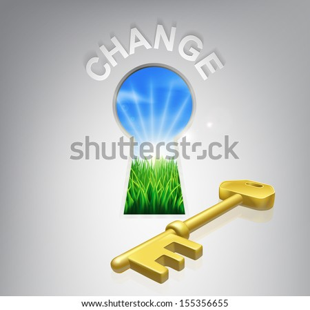 Key to change conceptual illustration of an idyllic sunrise over fields through a keyhole with a golden key and success sign over it. Could be used in self help or improvement or motivational context. - stock vector